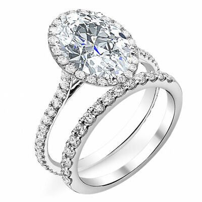 Lovely 2.60 Oval Cut Halo Natural Diamond Engagement Ring Set H VS2 GIA 14K