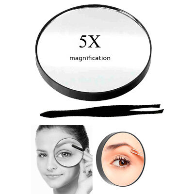 5x Compact Magnifying Mirror (Cosmetic Mirror 5x Magnifying Compact With Suction Cups and Tweezerss Make Up ! )
