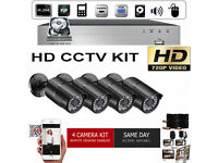 CCTV HD Security Camera Kit. 4x HD Cameras, HD DVR with Hard Drive, Cables. Full Kit.