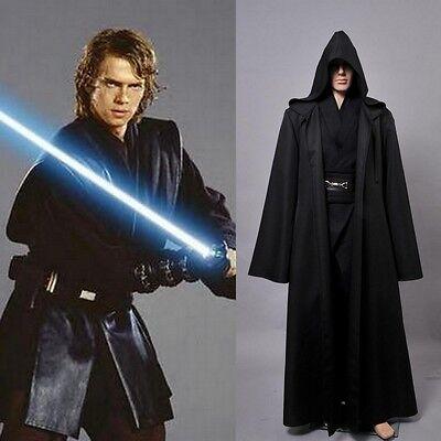 Star Wars Anakin Skywalker Cosplay Kleidung Hose Uniform Größe S-XL Robe Gewand (Anakin Skywalker Kostüm Schwarz)