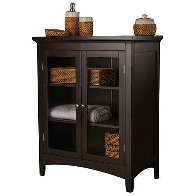 Bathroom Storage Furniture Discount Floor Cabinet 2 Door Glass Espresso Classic