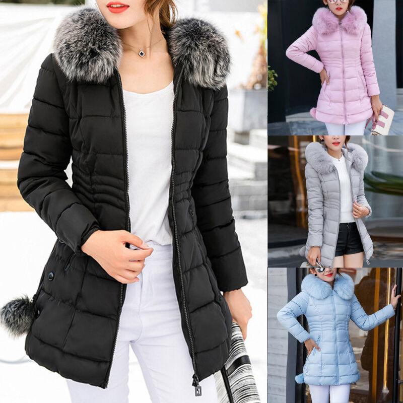 Women Winter Warm Fur Collar Hooded Long Coat Jacket S Slim Parka Outwear Coats