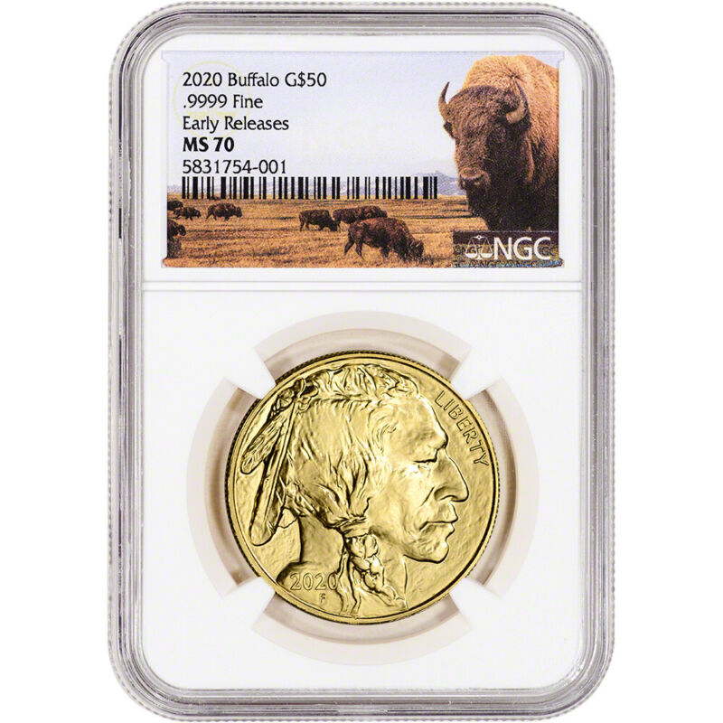 2020 American Gold Buffalo 1 oz $50 - NGC MS70 Early Releases Bison Label