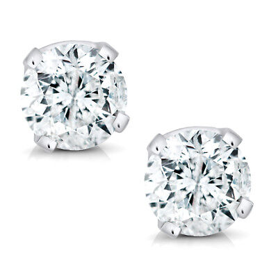 14K White Gold Round Diamond Stud Earrings (1/5cttw) (Cttw Round Diamond Studs)