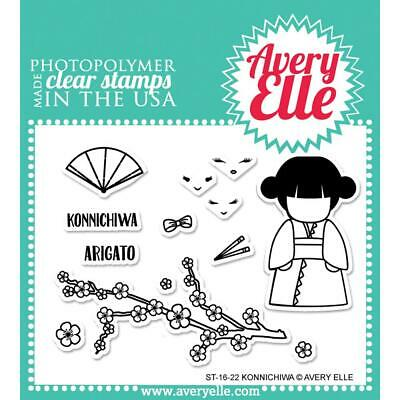 Cherry Blossom Stamps (Avery Elle Clear Stamp Set Konnichiwa ST-16-22 - Geisha Cherry Blossom  )