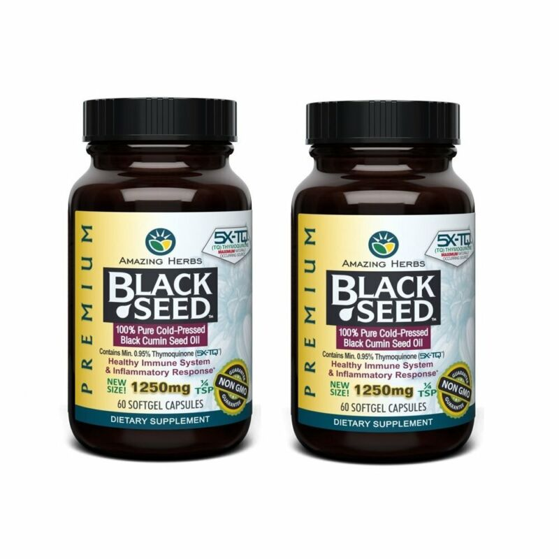 Amazing Herbs 2 Pack Premium Black Seed Oil 1250mg - 60 Softgels - Cold-Press...