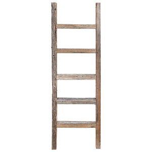 Decorative Ladder - Reclaimed Old Wooden Ladder 4 Foot Rustic Barn Wood