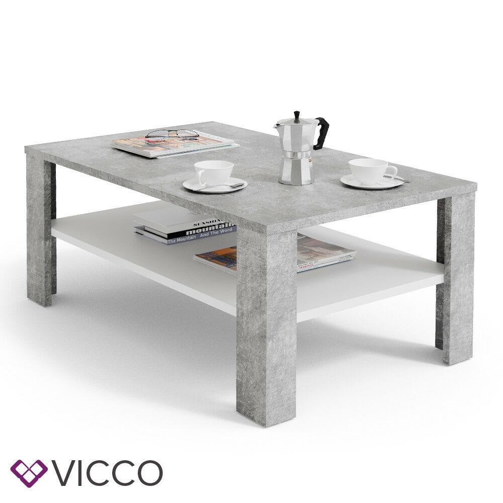 vicco couchtisch beton optik wei wohnzimmertisch beistelltisch holztisch ebay. Black Bedroom Furniture Sets. Home Design Ideas
