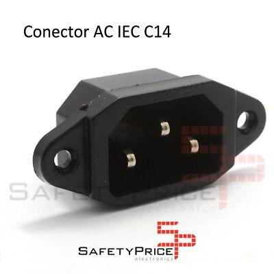Conector Corriente AC IEC C14 Chasis Macho 10A 250V 3 pines Negro...