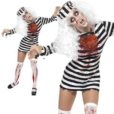Zombie Convict Costume Halloween Female Ladies Womens Fancy Dress Outfit XS-L