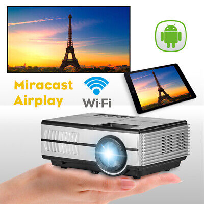 HD Smart Android Blue-tooth Projector WiFi Home Theater Airplay Miracast HDMI US