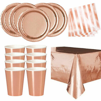 ROSE GOLD Plates Cups Table Cloth Decorations Shiny Birthday Party