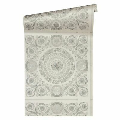 Versace IV Heritage Panel Metallic Wallpaper 37055-5 Silver Ornate Pattern