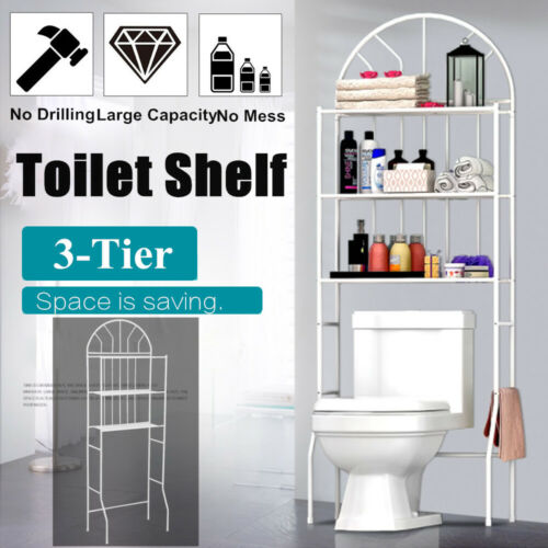 Over The Toilet Rack With 3 Shelf Bathroom Space Saver Towel