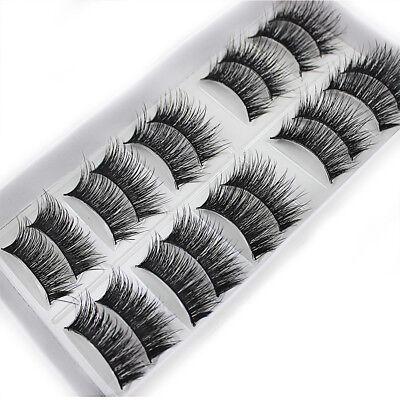Cheap Natural 10 Pairs 100% Real Mink Hair Thick False Eyelashes Strip Lashes](Cheap Eyelashes)