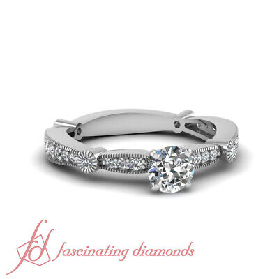 .80 Ct Round Cut Diamond Tapered Milgrain Engagement Ring Pave Set 14K Gold GIA