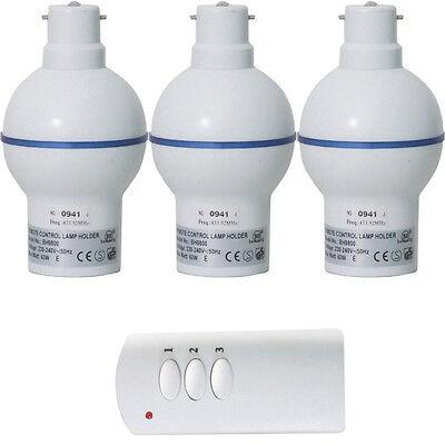 3x Remote Control Dimmer Lamp/Light Bulb Holder –30m Wireless BC Bayonet 60W LED
