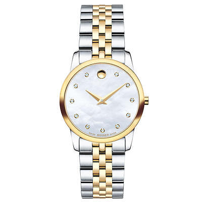 Mother Of Pearl Silver Wrist Watch - Movado Museum Classic 0606613 Mother of Pearl/Two-Tone Silver/Gold Women's Watch