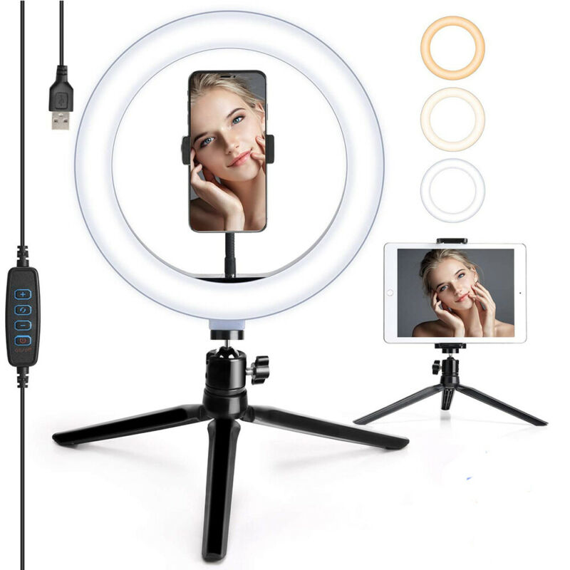 10in LED Ring Light Lamp With Tripod Stand Phone Holder for YouTube Video Live