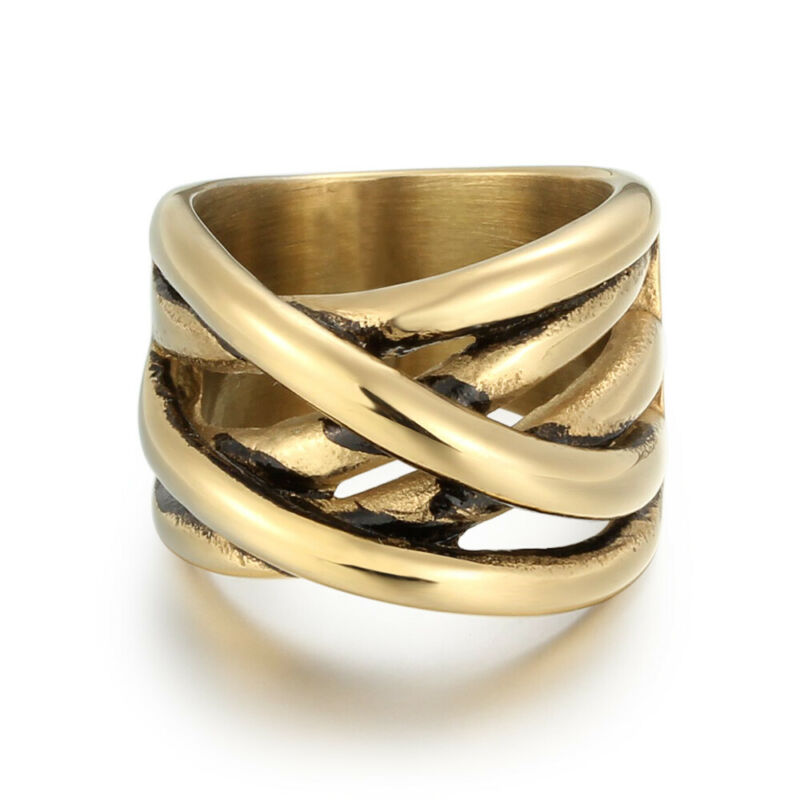 5 Pcs/Lot Fashion Stainless Steel Women Men Plated Gold Rings Jewelry Size 7-11