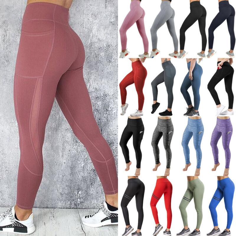 Women Sport Pants High Waist Yoga Fitness Leggings Running W
