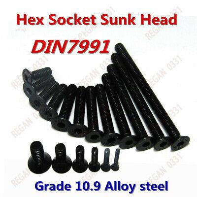 M2 M3 M4 M5 M6 Black Alloy Steel Hex Socket Countersunk Head Screws Bolts 10.9