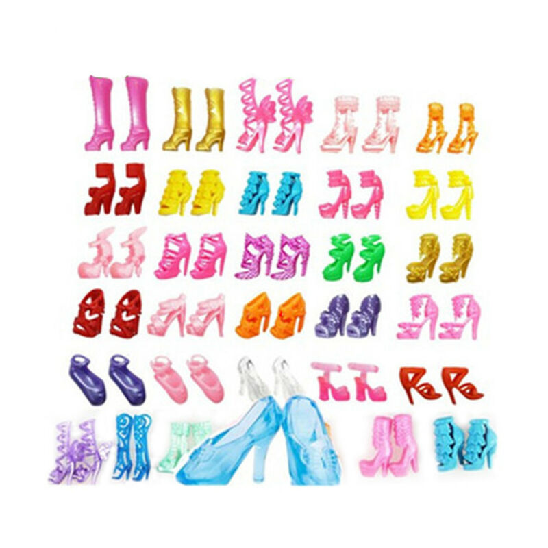 40 Pairs Different High Heel Shoes Boots For Barbie Doll Dresses Clothes Shoes