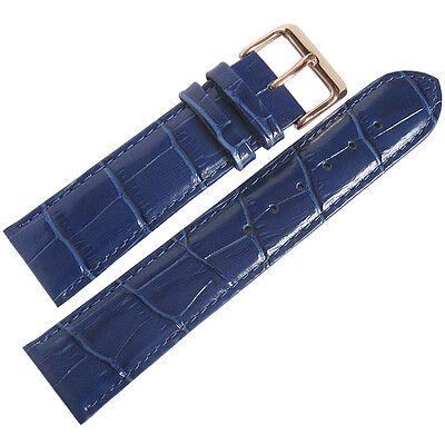 20mm Fluco Royal Blue Crocodile-Grain Leather ROSE GOLD Buckle Watch Band Strap