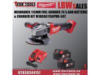 Milwaukee 115mm Fuel Grinder 2x 5.0Ah Batteries & Charger & BAG Kit M18CAG115XPD