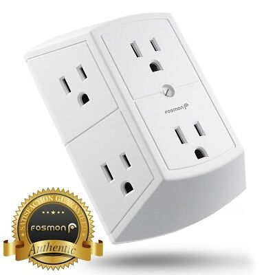 Fosmon  Etl Listed  3 Sided 6 Outlet Grounded Indoor Wall Tap Adapter Ac Plug