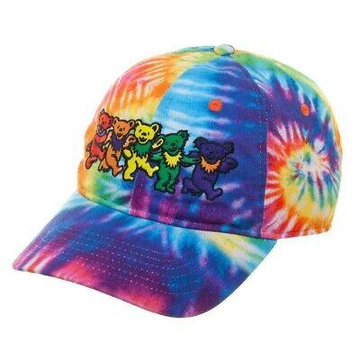The Grateful Dead Tie-Dye Adjustable Dad Hat OSFM Marching Bears Rainbow Unisex - The Grateful Dead Bears