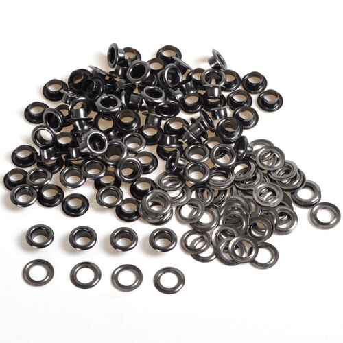 4/5/6/8/10mm x 100 Gunmetal Black Leather Craft Eyelets Rings Washers Grommets