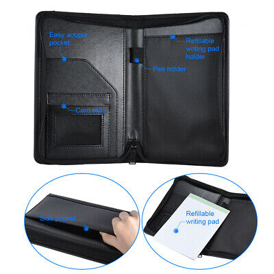 A5 Pu Leather Zip Portfolio Executive Conference Folder Organiser Case Bag W0h5