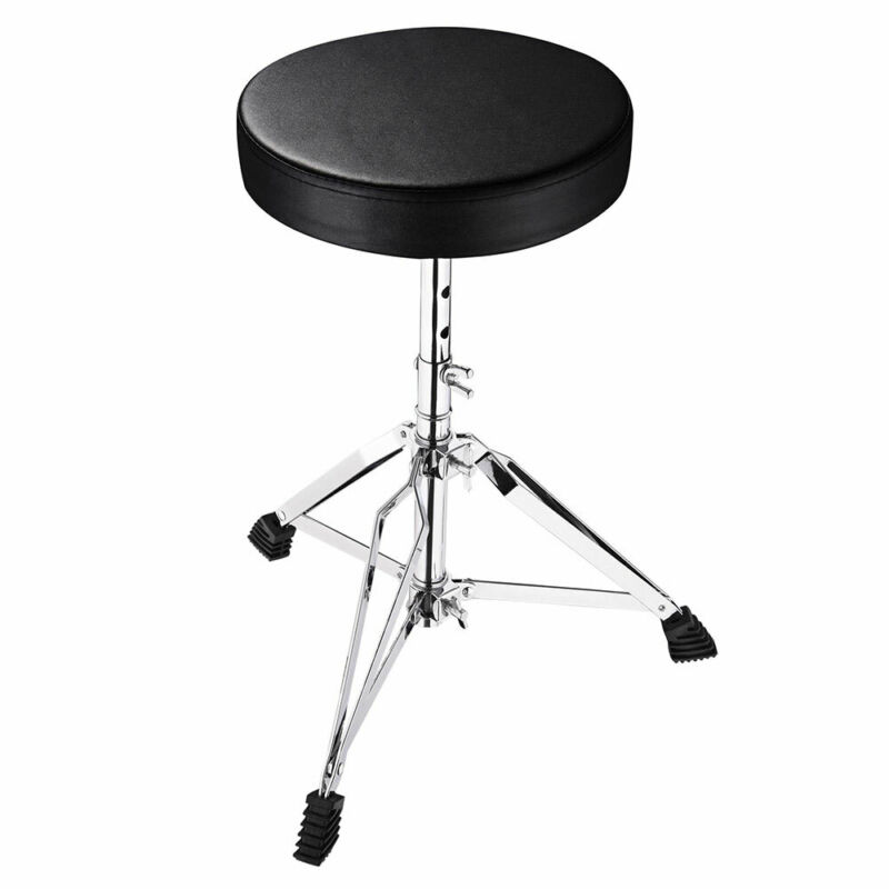 Drum Throne Padded Seat Stool Round Drumming Chair Adjustable Folding Stand