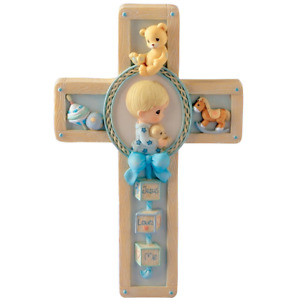 Precious Moments 'Jesus Loves Me' Baptism cross for boy.