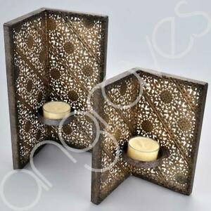 Large & Small Bronze Arabian Nights Large Screen Candle Tealight Holders Decor