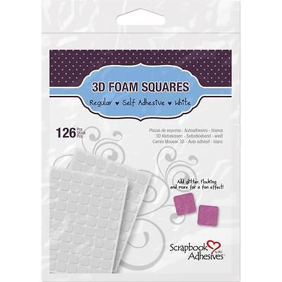 3L-SCRAPBOOK ADHESIVES 3D FOAM SQUARES-126 PCS-SELF ADHESIVE-WHITE-093616016107