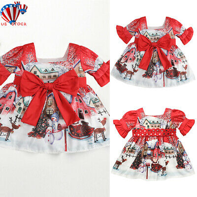 Party Dresses Toddlers (Baby Girls Christmas Dress Toddler Printing Bow Flared Xmas Santa Party)