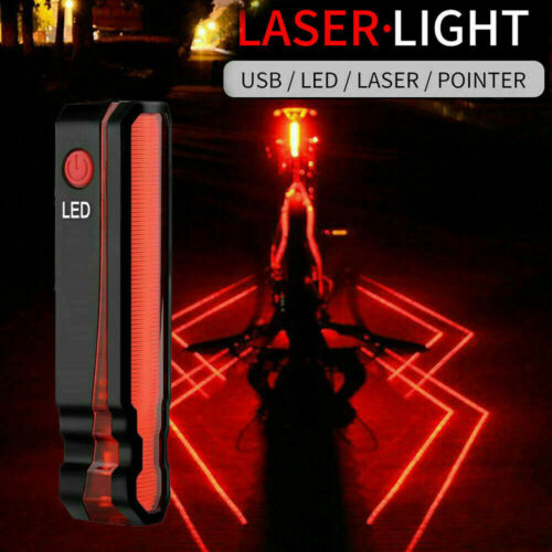 Laser Spider Bike Light Rear Lamp Bicycle USB Rechargeable Tail Safely Cycling