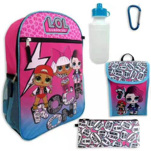 LOL Surprise Doll Girls School Backpack Lunch Box Book Bag Case 5 Piece SET Toy