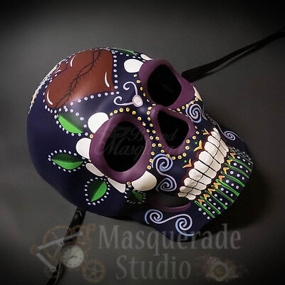 Day of the Dead Full Face Skull Purple Heart Tribal Halloween Masquerade Mask (Day Of The Dead Halloween Faces)