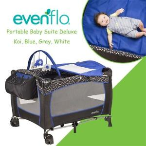 NEW Evenflo Portable Baby Suite Deluxe, Koi, Blue, Grey, White Condtion: New, Black, Blue, White