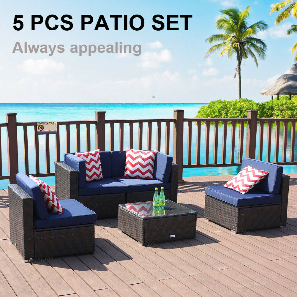 5 Piece Patio Rattan Wicker Sofa Set Cushioned Furniture Out