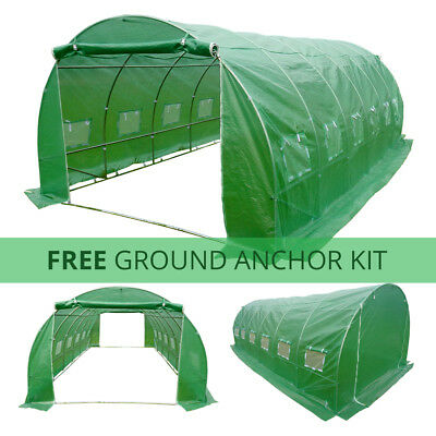 POLYTUNNEL 6M X 3M 6 SECTION GREENHOUSE FULLY GALVANISED STEEL FRAME POLY TUNNEL