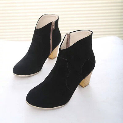 Women Short Cylinder Boots High Heels Boots Shoes Martin Boots Ankle Boots New 6