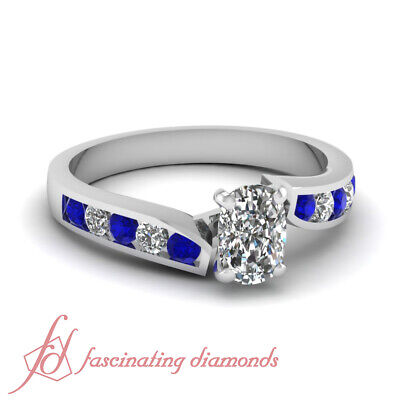 3/4 Ct Cushion Cut Diamond & Blue Sapphire Engagement Ring 14K VS1 GIA Certified