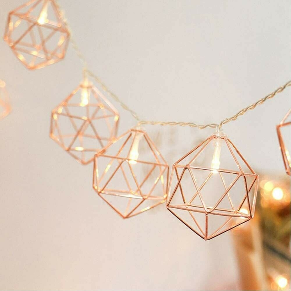 LED Rose Gold Pendant String Lights Battery Home Decor