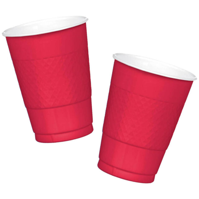 50 Sports Spirit Shades RED Team Colour 454ml Disposable Plastic Cups