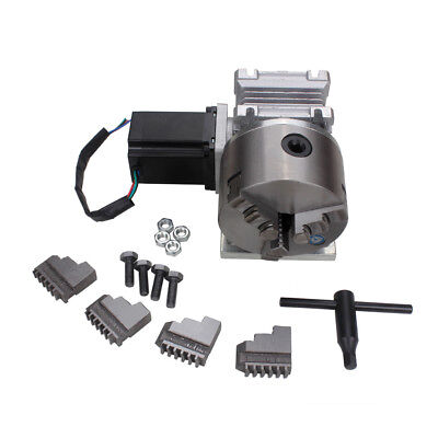 Router Rotary A 4th Axis Gearbox 3 Jaw 100mm Chuck 201 Cnc Engraving Machine