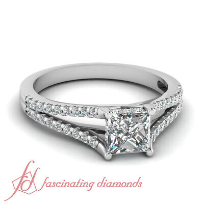 .74 TCW. Princess Cut GIA Certified Diamond Pave Set Open Band Engagement Ring
